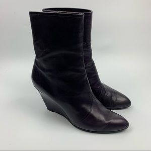 Sigerson Morrison Eggplant Purple Wedge Ankle Boot